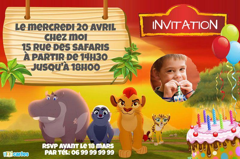 Invitation Anniversaire La Garde Du Roi Lion Anniversaire En 2019