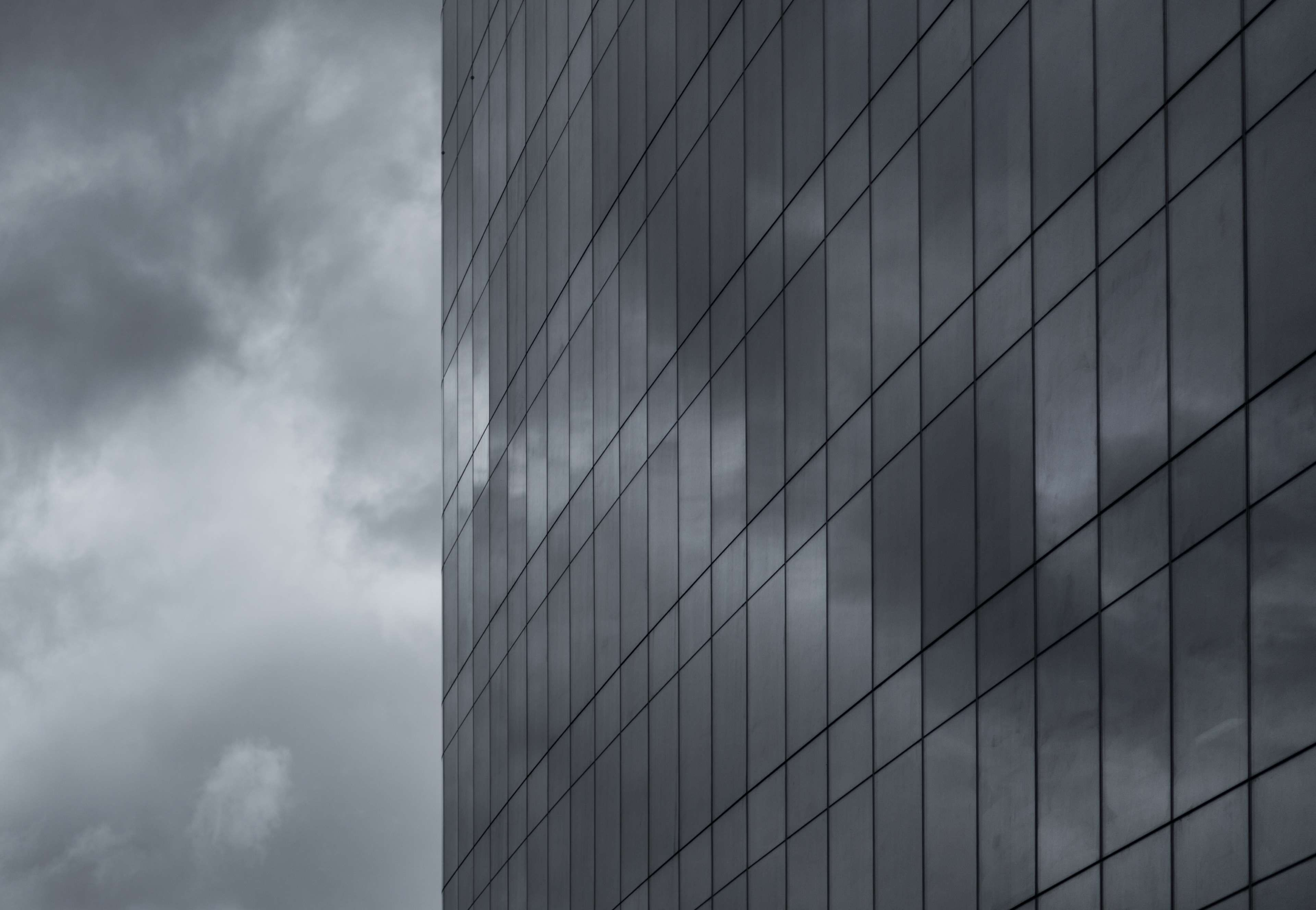 #black and white #buiding #clouds #high rises #monochrome #perspective #skyscraper #window