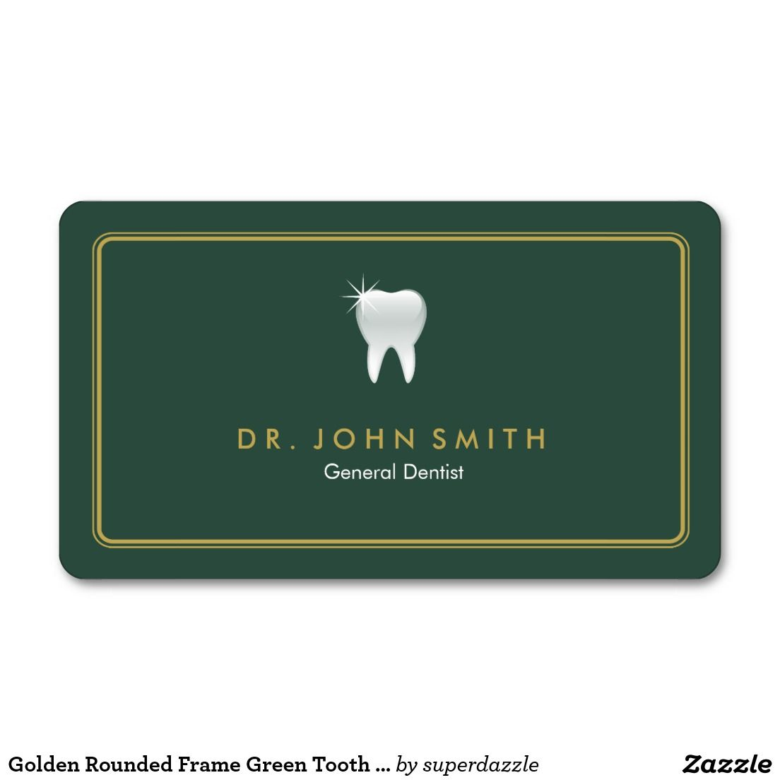 Dentist Golden Rounded Frame Green Tooth Dental Appointment Card
