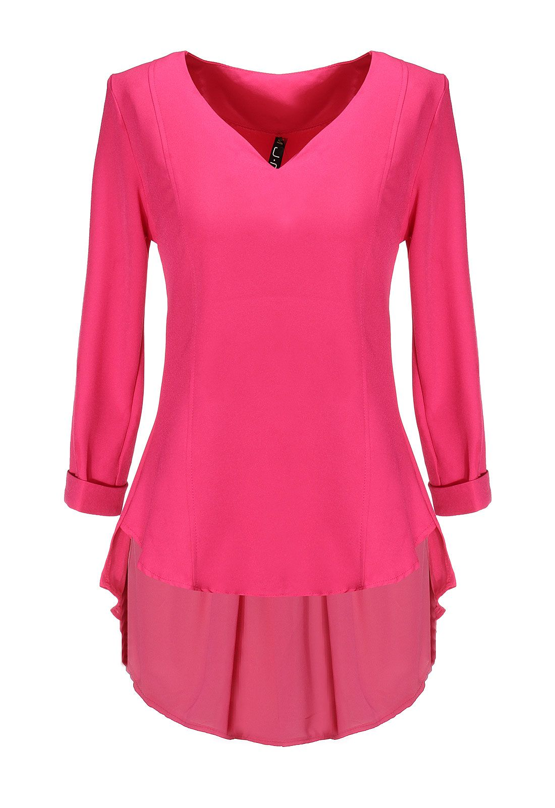 BG-impression Rose Red V-neck Dress