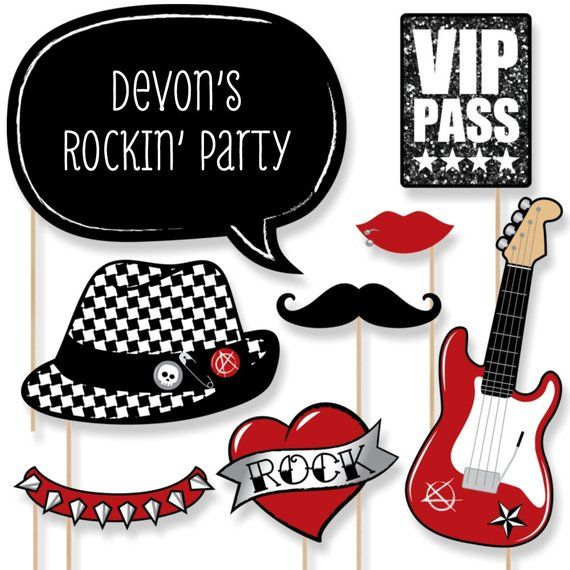 Rock N Roll Photo Booth Props Party Like A Rockstar Prop Kit