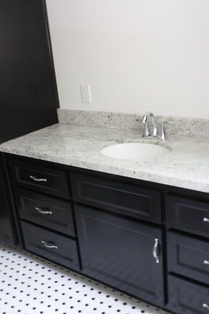 Bianco Romano Granite On Black Vanity Guest Bath For