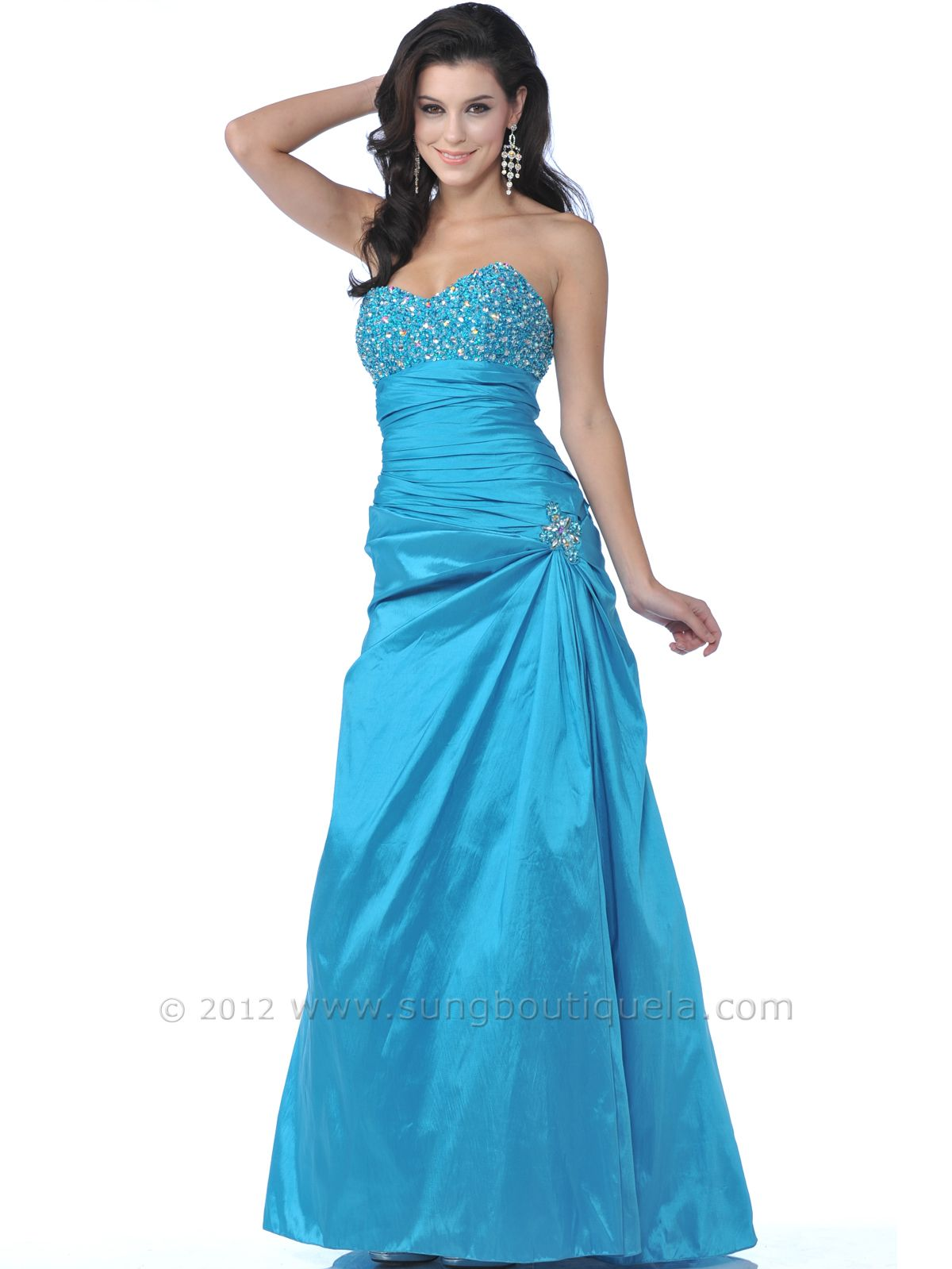 Turquoise prom dresses jeweled prom dress sweetheart neckline from