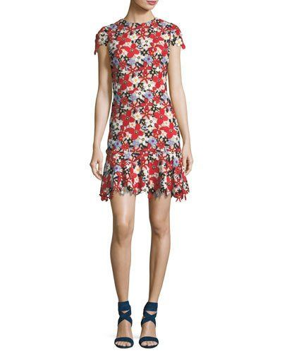461135b4e1fb ALICE AND OLIVIA IMANI FLORAL-LACE CAP-SLEEVE FITTED SHORT DRESS.   aliceandolivia
