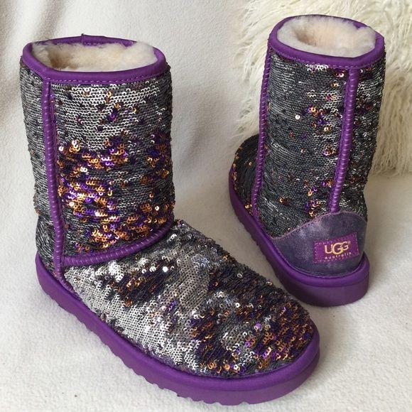 UGG💜purple reversible sequin boots