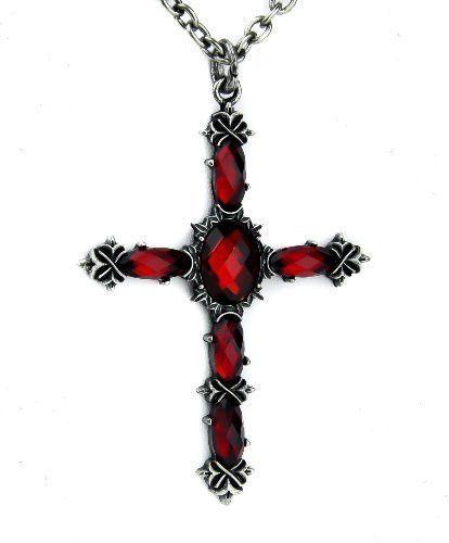 Red Stone Vampire Cross Necklace Dark Jewelry Gothic Deathrock Anime Cosplay