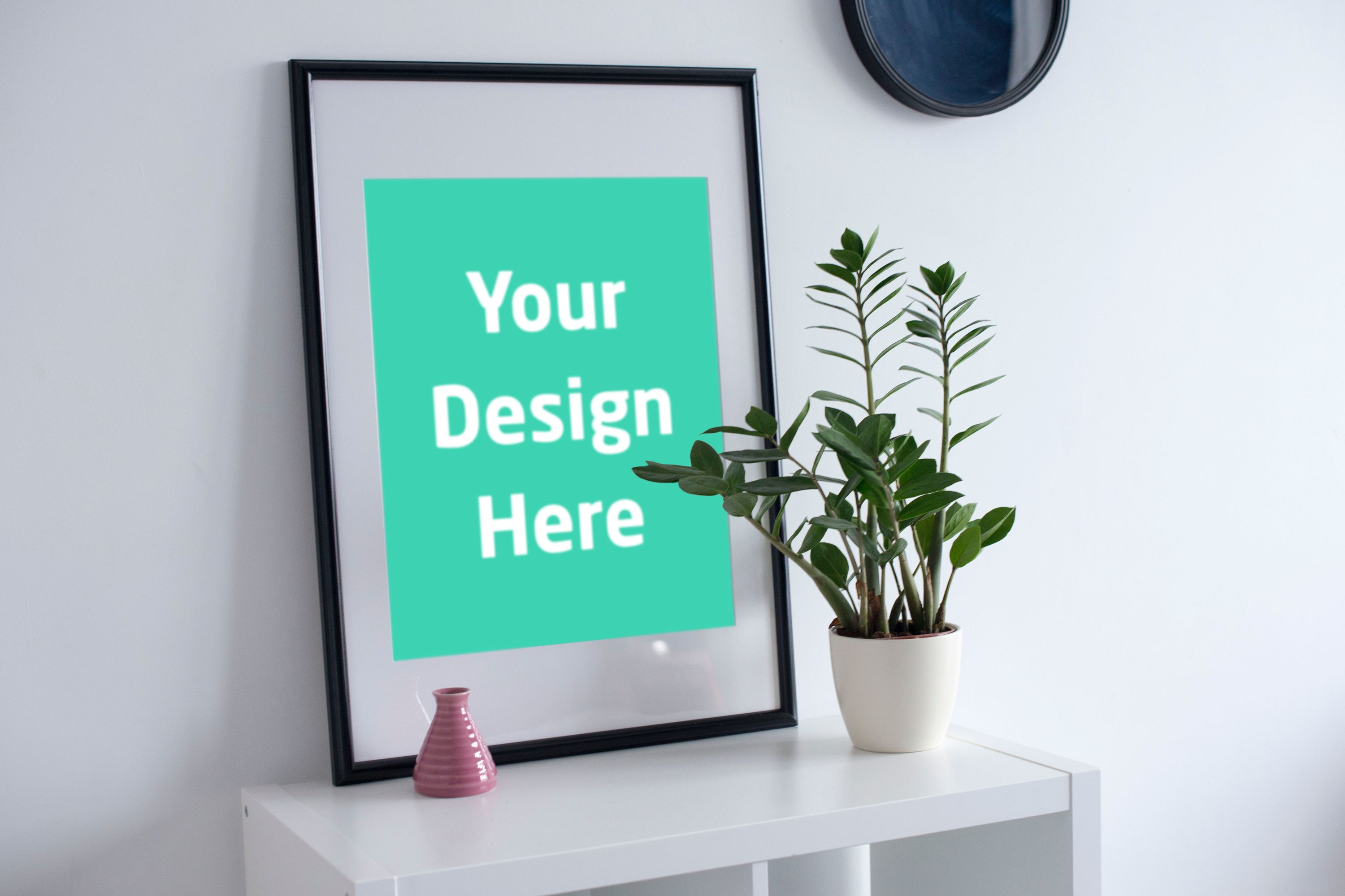 Frame With Vase Beside Unique Psd Mock Up For Your Posters And Flyers Wall Art Shops Easy Design Change