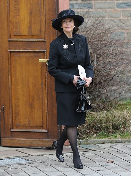 Queen Silvia of Sweden leaves the funeral service for the deceased Prince Richard of Sayn-Wittgenstein-Berleburg (1934 - 2017) at the Evangelische Stadtkirche on March 21, 2017 in Bad Berleburg, Germany.
