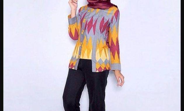 Model Baju Batik Kantor Wanita Berjilbab Terbaru 2018 Wanita Model Celana