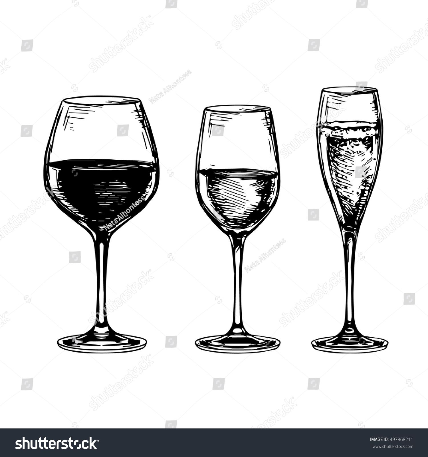 Sketch set of wineglasses. Isolated on white background