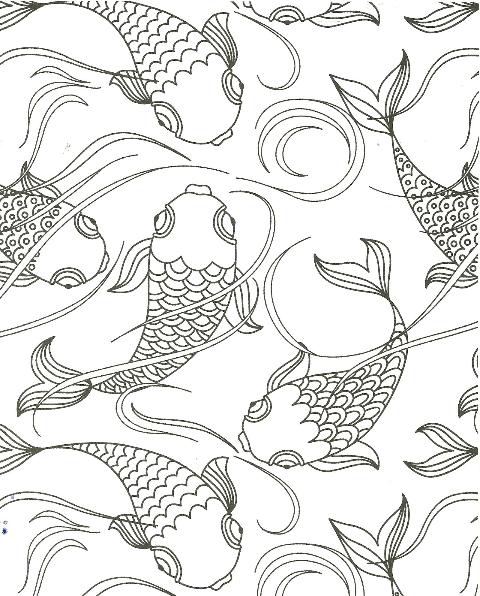 Koi pond fish coloring page | my coloring pages | Pinterest | Color ...