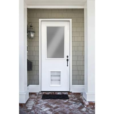Steves Sons Premium Half Lite Primed White Steel Prehung Front Door With Large Pet Spd H1clpr 28 4ilh The Home Depot