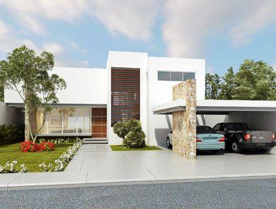 Fachadas minimalistas moderna casa con fachada for Casa habitacion minimalista