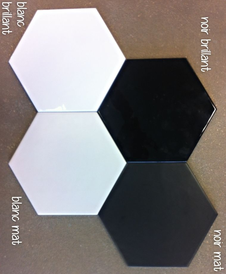 Carrelage hexagonal 17 5x20 tomette design as de for Carrelage noir mat