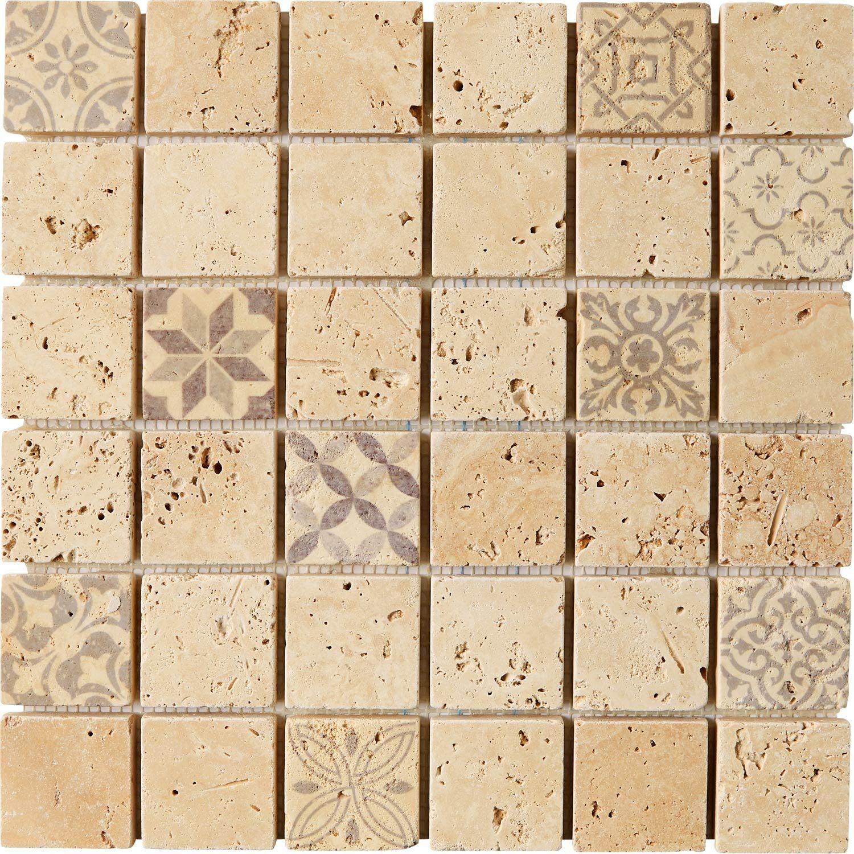 Mosaique Sol Et Mur Travertin Decor Beige 4 8 X 4 8 Cm En 2019 Travertin Sol Et Mur Et Sol Salle De Bain