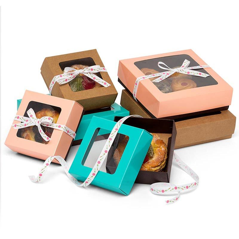 Bicolored cookie box with square window shop papermart