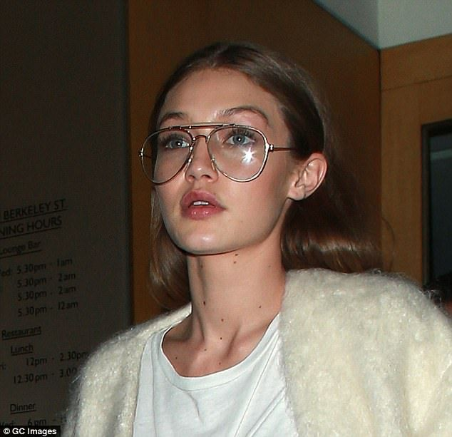 8d326837b96e Retro vibes: Gigi Hadid, 21, loves to accessorize her off-duty looks with  cool aviator glasses