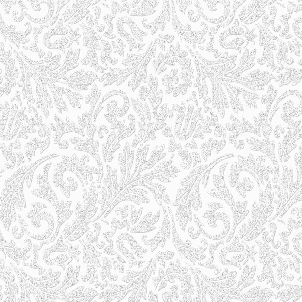 Damask Paintable Removable Wallpaper, White