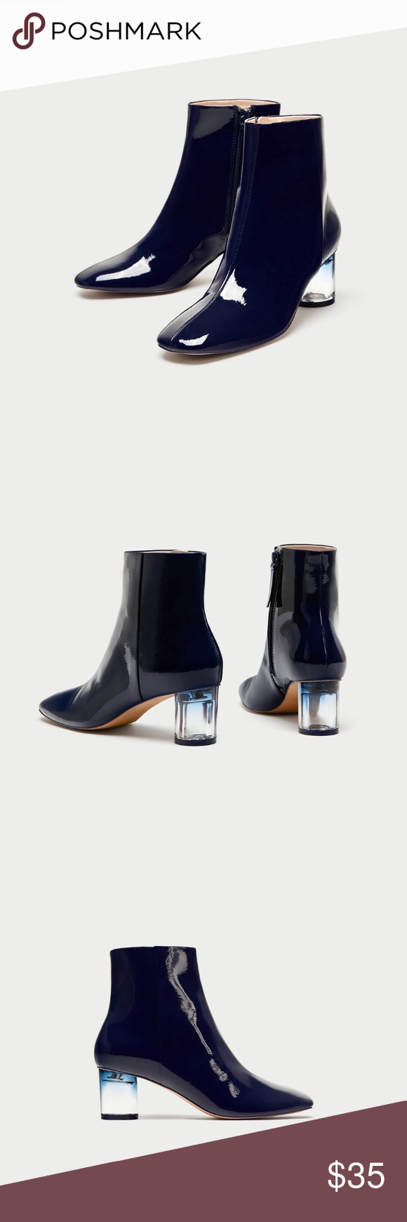 05f0acbc3f32 Patent Finish Ankle Boots With Clear Heels Navy blue high heel ankle boots