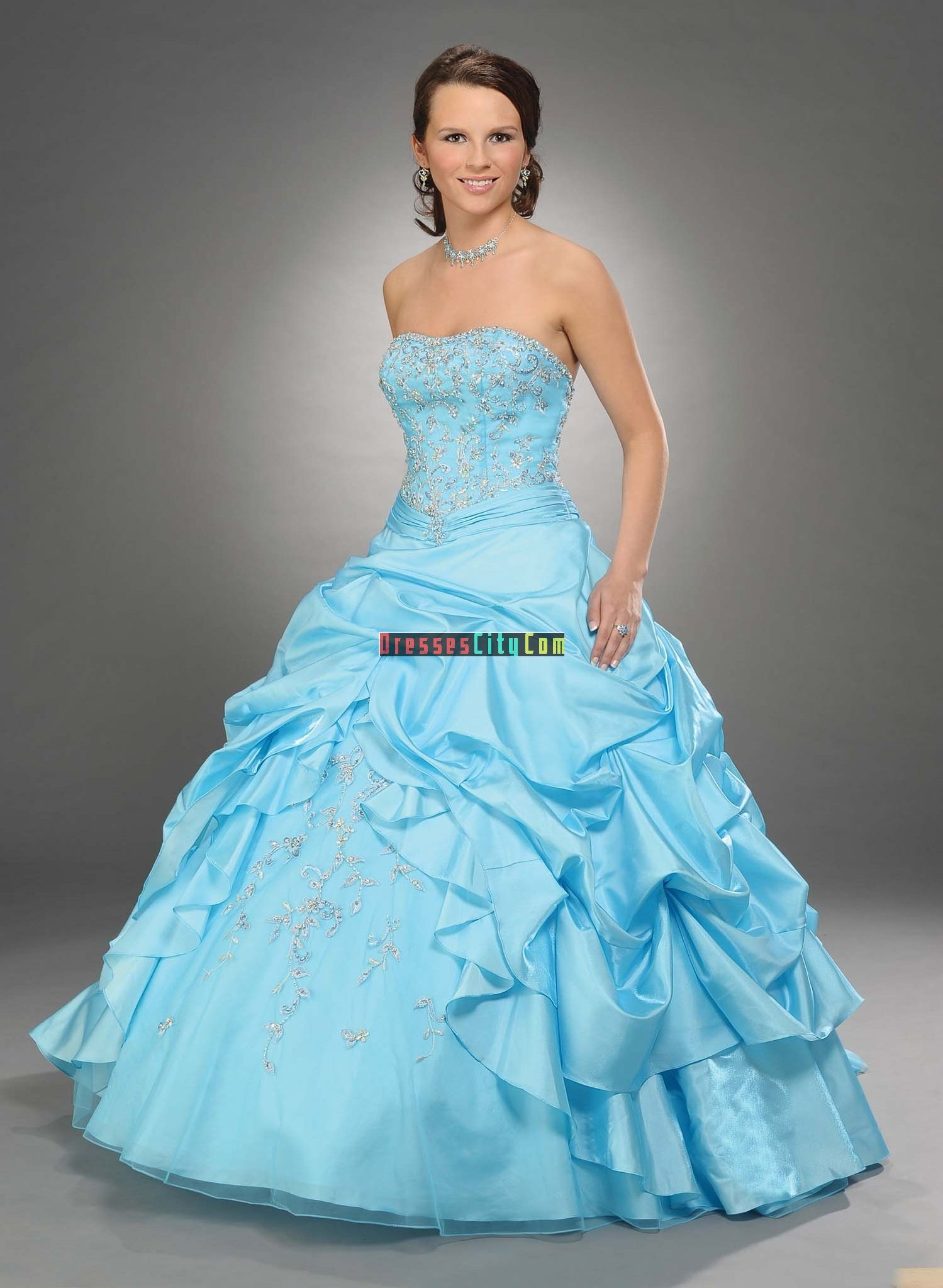 hot pink and baby blue wedding | ... ball gown strapless floor ...