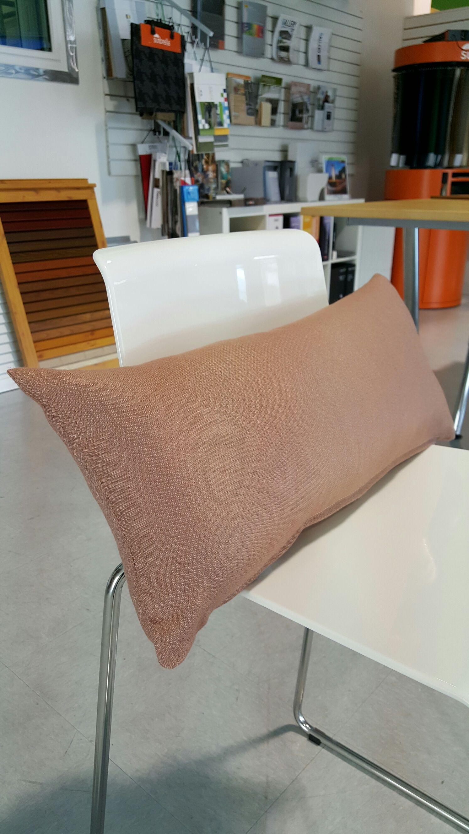 Custom Lumbar Pillow  Pillow Fabric: Sunbrella Euro Misty Rose (20095)