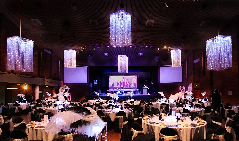 Great Gatsby themed gala dinner decorated with crystal ...