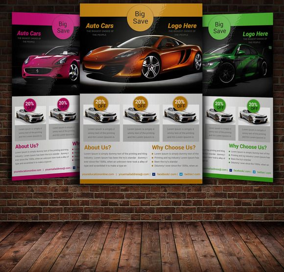 Auto Show Flyer Template 2 by FlyerHeroes on @creativemarket - car flyer template