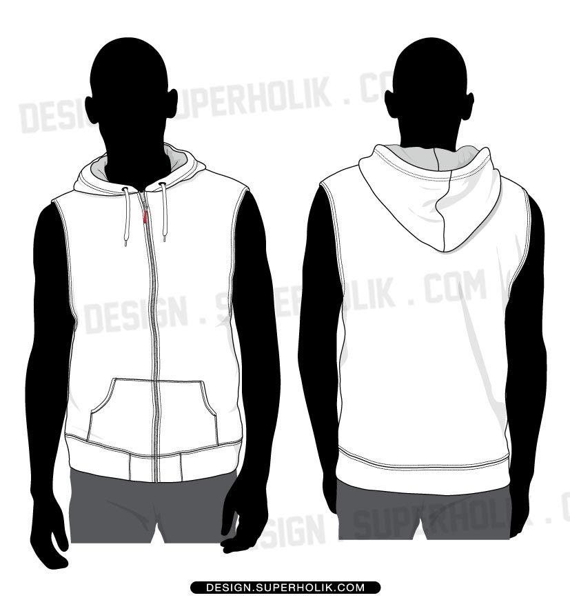 Sleeveless Hoodie | Fashion Vector Templates | Pinterest | Fashion