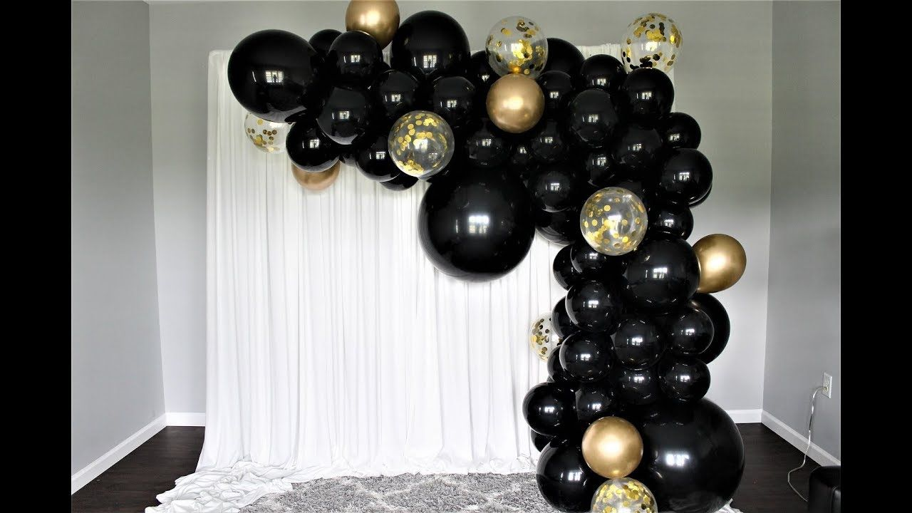 Black And Gold Balloon Garland Diy How To Black And Gold
