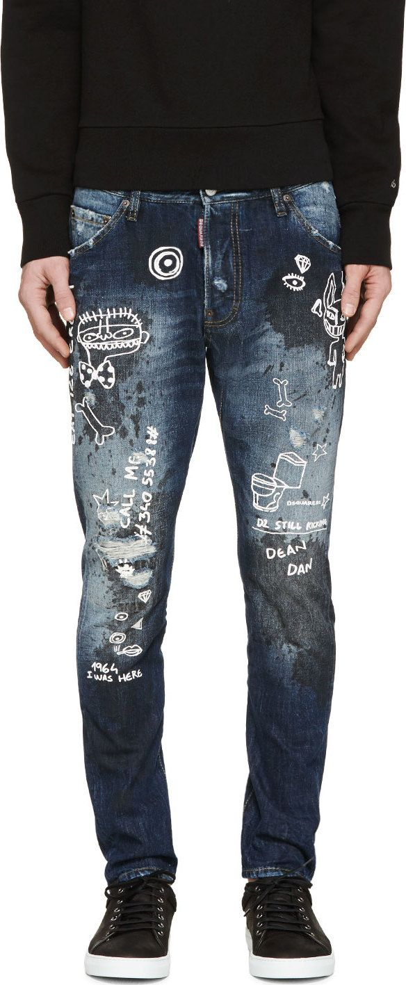 a559709444b Dsquared2 Blue Kenny Monster Distressed Jeans