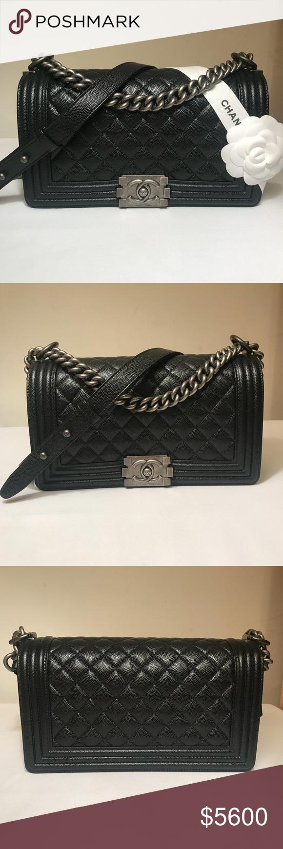 1828de522fad14 Chanel Caviar Boy Bag Old Medium with RHW Authentic Chanel Black Caviar  Quilted Boy Bag Old