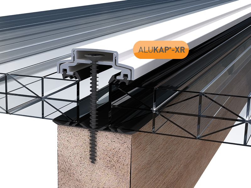 60mm Wide 3 6m Alukap XR Aluminium Rafter Supported Glazing Bar incl end caps (available in any colour) is part of Garden canopy - Buy carport, veranda and patio canopy systems online or order over the phone