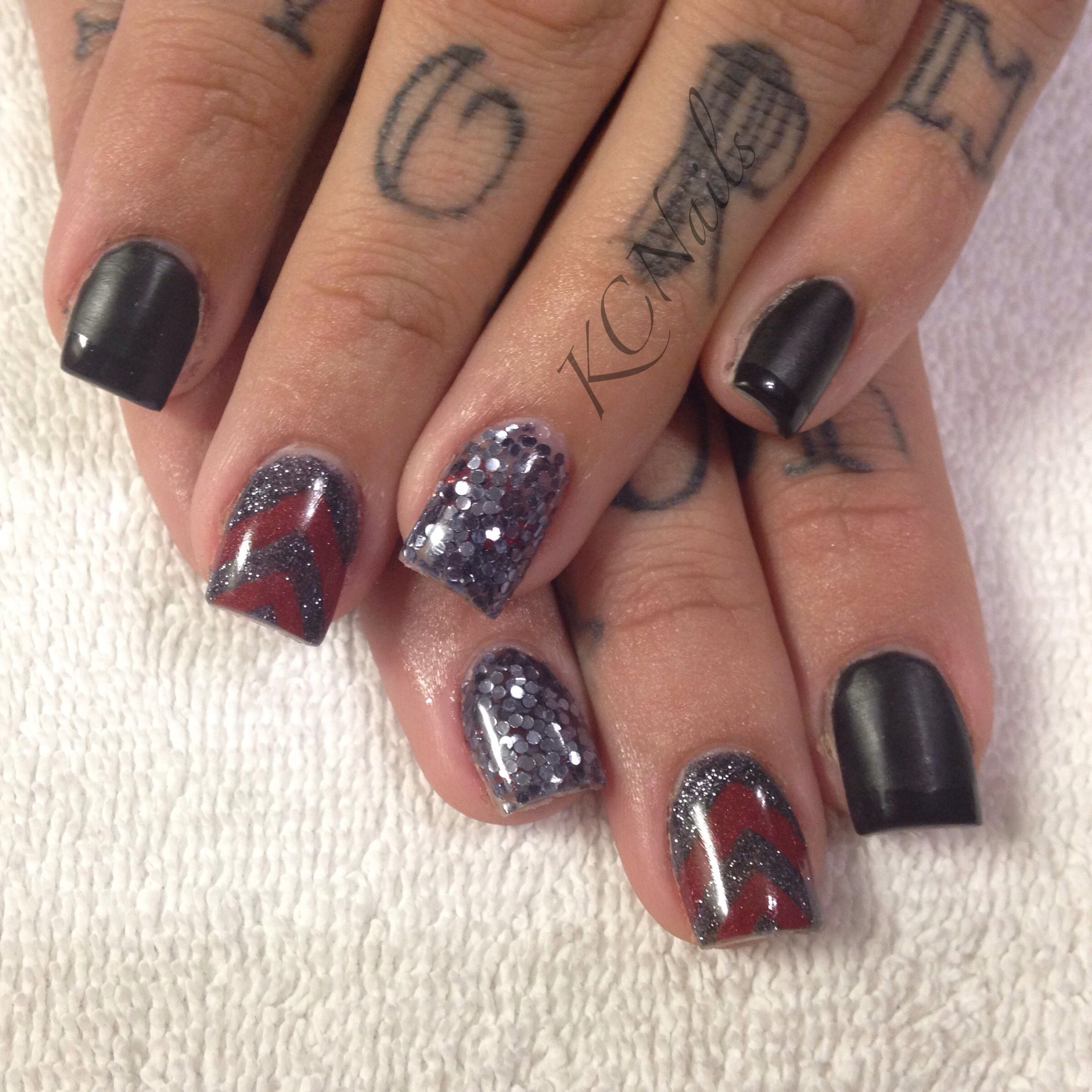 Christmas Acrylic Nails Grey: Matte Black, Red And Charcoal Grey Acrylic Nails! Sculpted