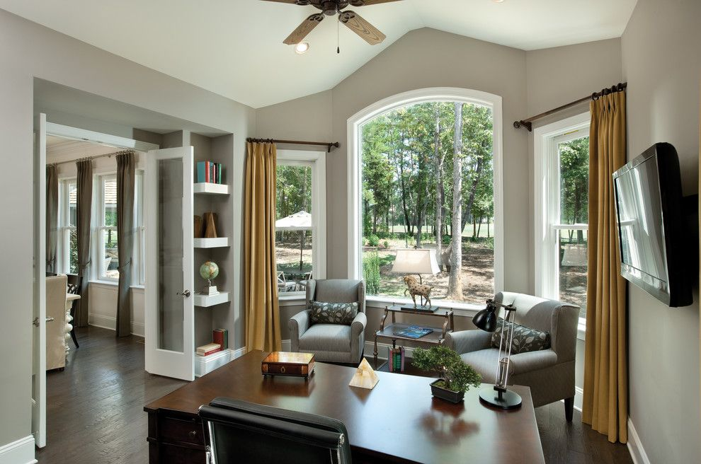 gorgeous what color curtains with gray walls image gallery in home office traditional design ideas with arched windowsbay