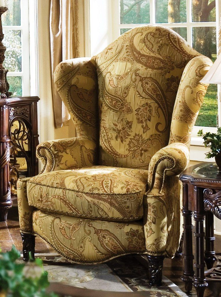 Essex manor high back wing chair aico furniture living - High back wing chairs for living room ...