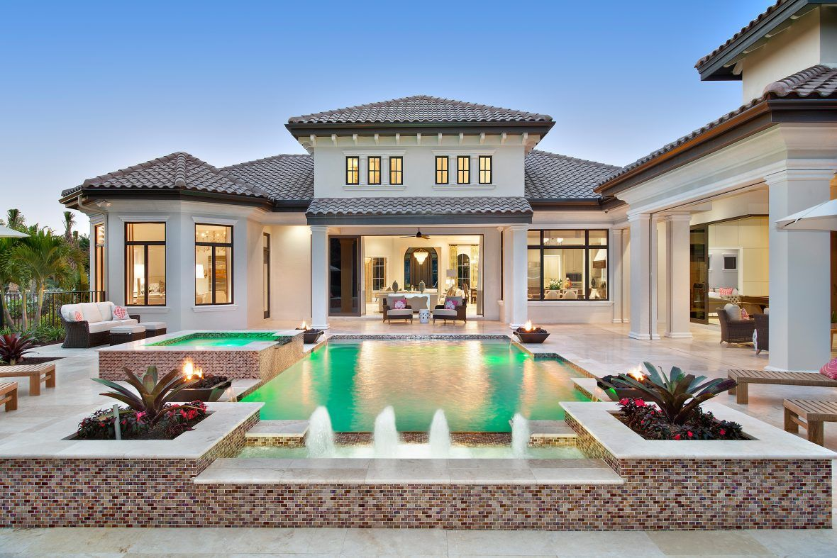 Transitional Mediterranean Courtyard Home Design by Weber ... on house plans florida, interior design florida, craftsman home plans florida,