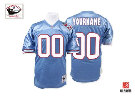 huge discount 5fd8a 7a9a8 Custom Houston Oilers Jersey Customized Blue Throwback Men ...