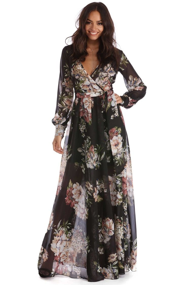 Tiare Black Floral Romance Dress | WindsorCloud