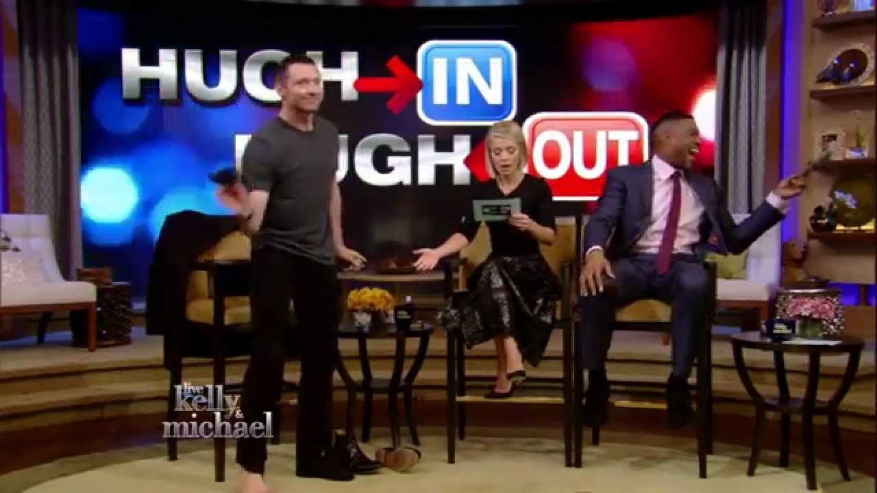 """Hugh Jackman Strips Down for Kelly and Michael in a game we like to call """"Hugh In or Hugh Out."""""""