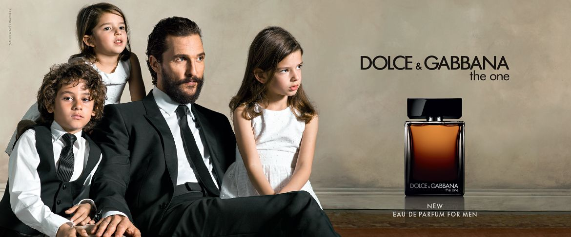 73da202b251 Matthew McConaughey poses with his kids for Dolce   Gabbana s The One fragrance  campaign.