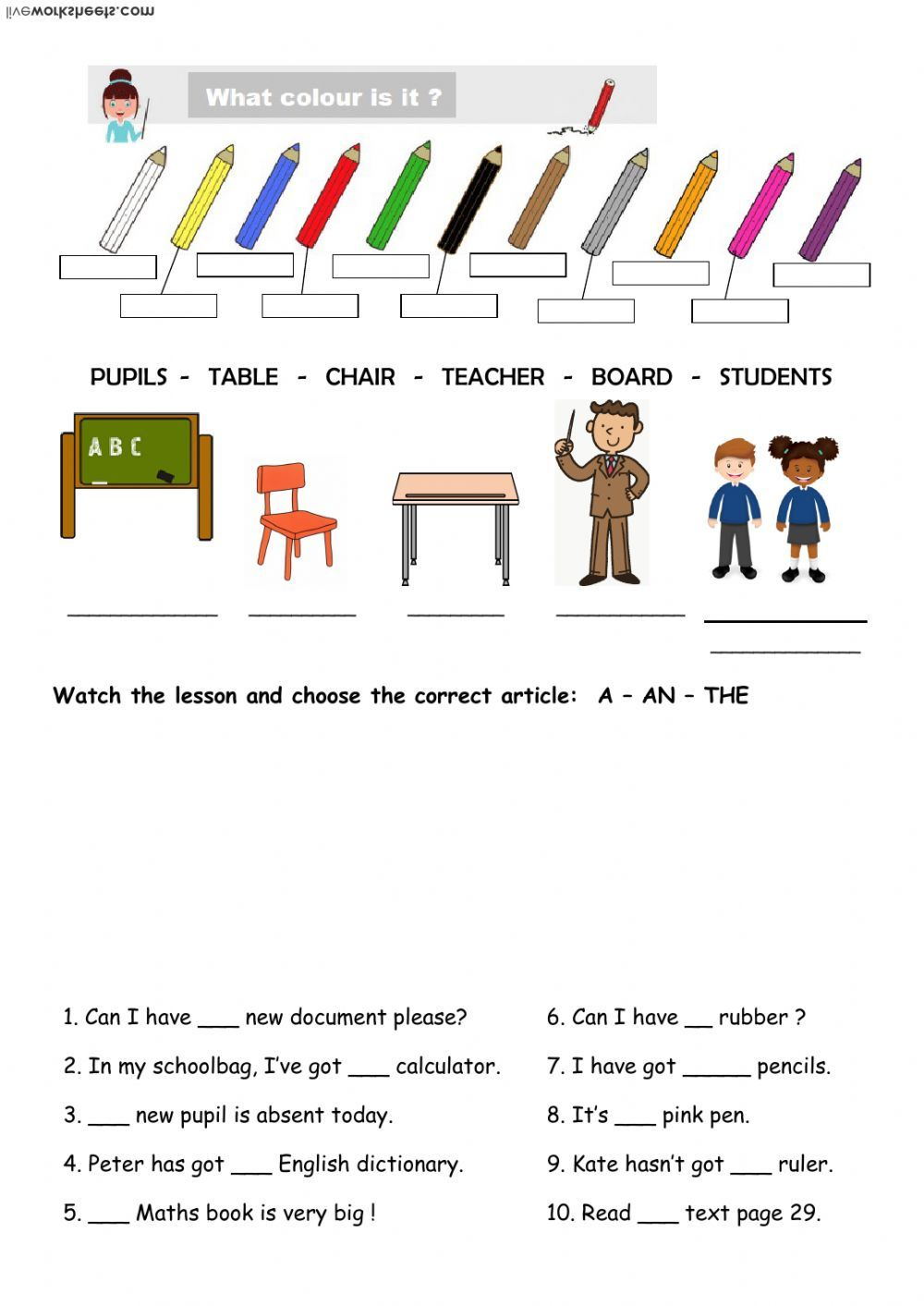 School Objects And Articles Interactive Worksheet Articles Worksheet Worksheets English As A Second Language Esl [ 1413 x 1000 Pixel ]
