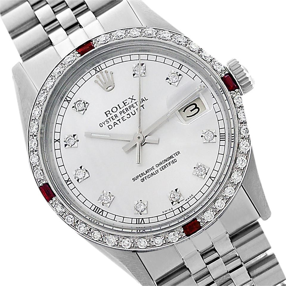 Preowned Datejust Silver Diamond Mens Watch 36mm 1601. Free shipping and guaranteed authenticity on Preowned Datejust Silver Diamond Mens Watch 36mm 1601MANUFACTURER: Rolex MODEL NAME: Datejust MODEL N...
