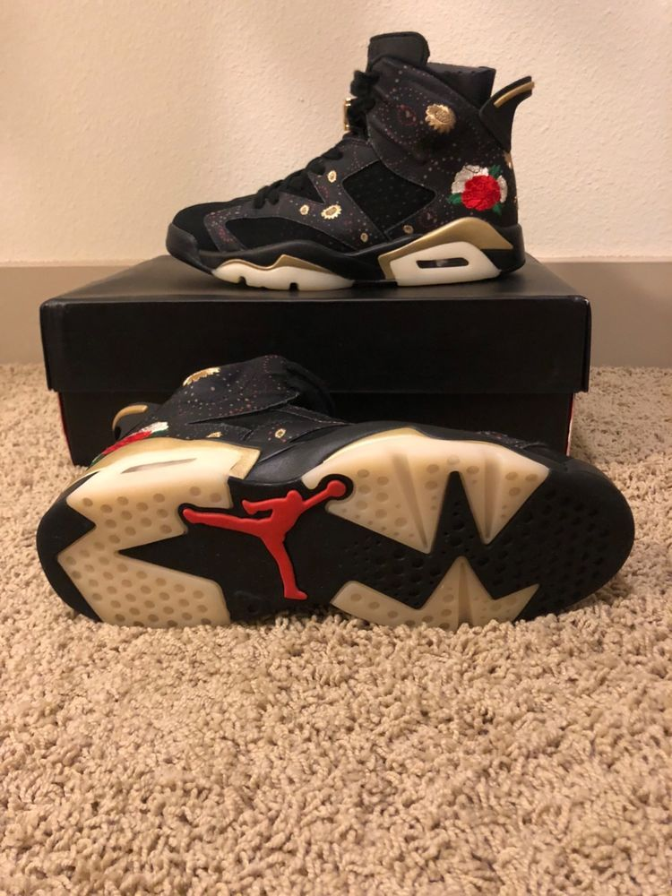 a1faff22b12 2018 Air Jordan 6 VI Retro Size 9 CNY Chinese New Year Black Gold AA2492-
