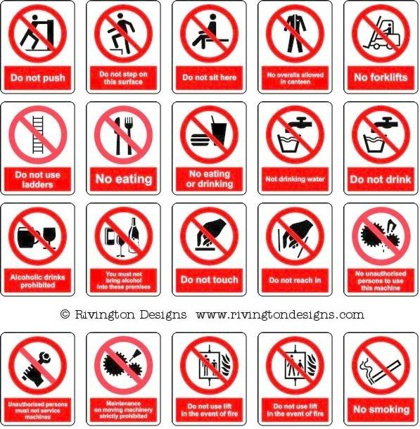 Prohibition Signs   Signs, Health, safety, Safety posters