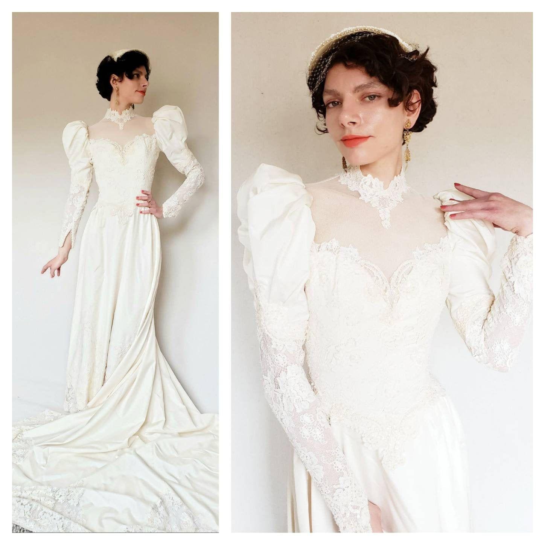 1980s NeoEwardian Wedding Dress Statement Sleeves / 80s