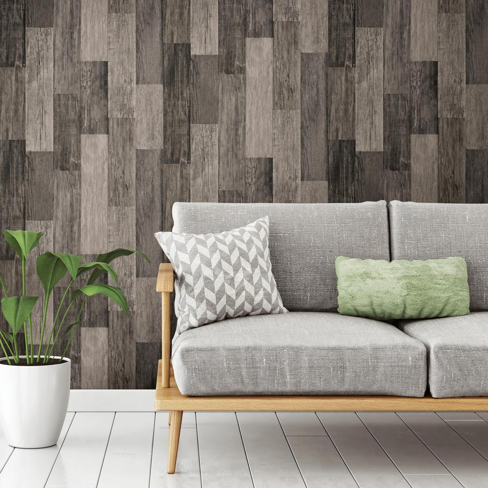 Roommates Weathered Wood Plank Black Vinyl Peelable Wallpaper Covers 28 18 Sq Ft Rmk11210wp The Home Depot Wood Plank Wallpaper Cheap Apartment Decorating Weathered Wood