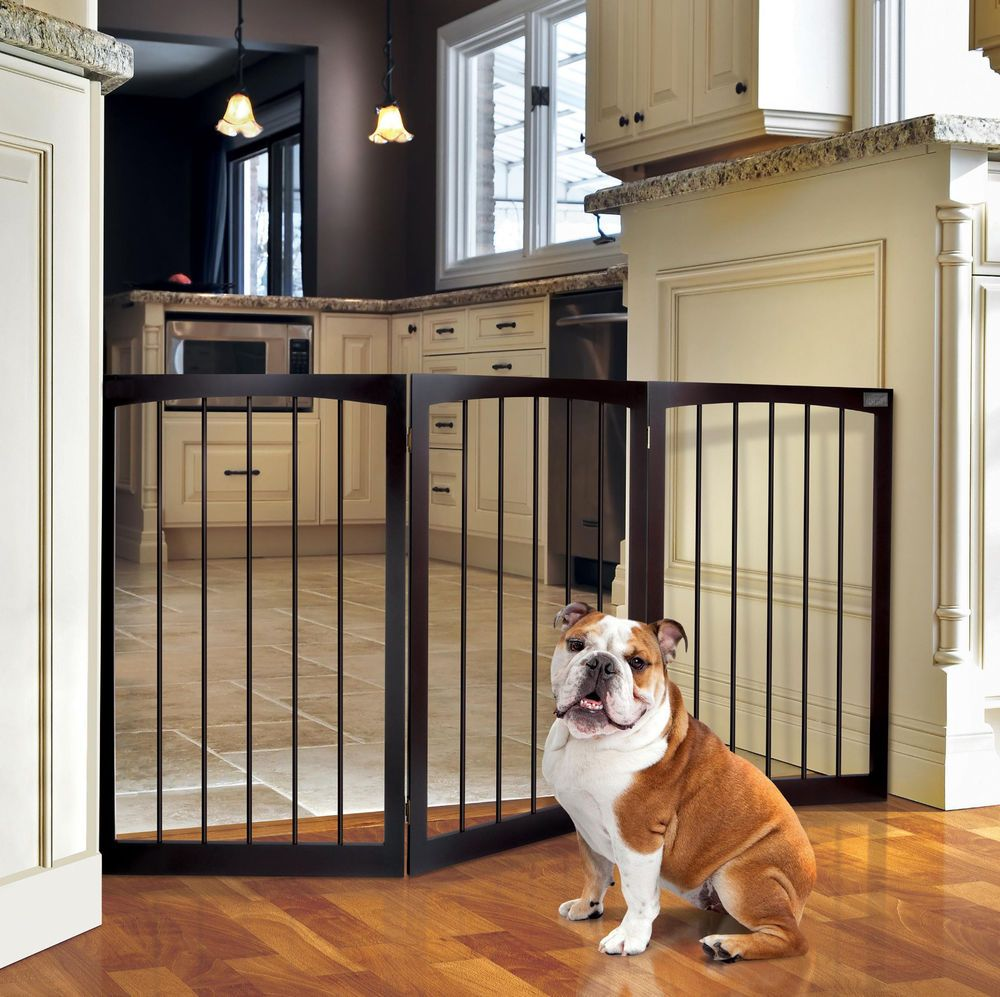 Wooden Blocking Dog Gate Limited Access Kitchen Indoor Limit ...