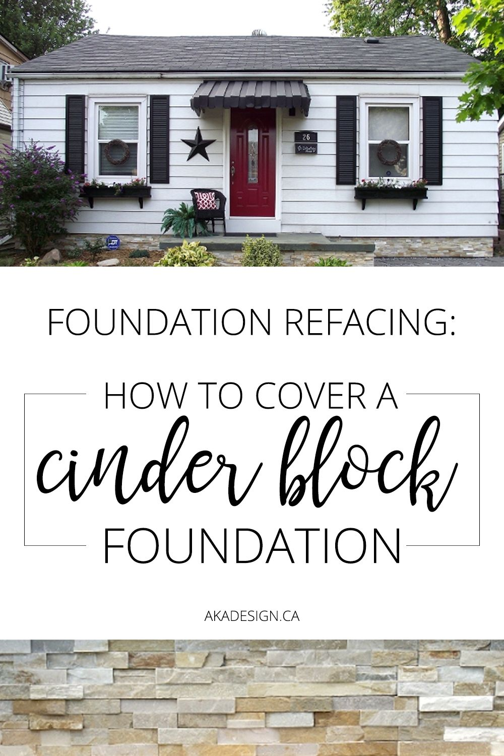 Foundation Refacing How To Cover A Cinder Block Foundation Cinder Block Foundation Cinder Block House House Foundation