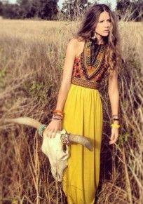 Yellow Floral Print Pleated Tank Zipper Draped New fashion Casual Bohemian Chiffon Maxi Dress