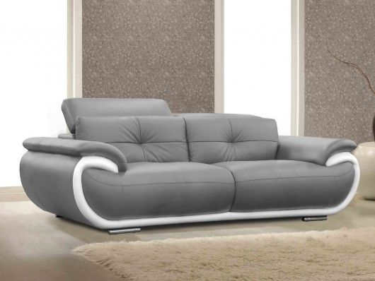 Sofa 3 Plazas De Piel Smiley Bicolor Gris Y Blanco Escudo In